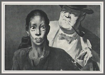 RARE Buying Black Americana Girl Woman ANTI RACISM Soviet art PROROKOV Postcard