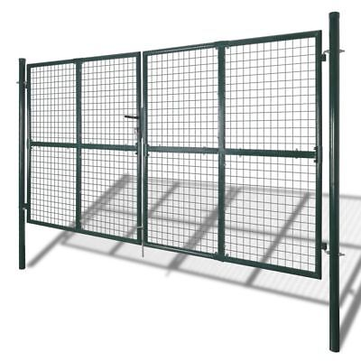 vidaXL Garden Gate Fence Door Mesh Security Fencing Galvanised Steel 306x225cm#
