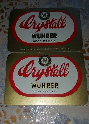 2 old  beer labels Italy Wuhrer  2 vecchie etichette birra Wuhrer cl 65 cl 46