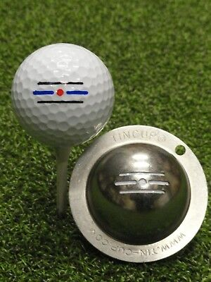 1 only TIN CUP GOLF BALL MARKER - ROUTE 66 - Yours For Life & EASY TO DO