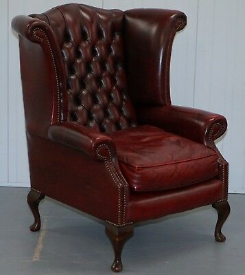 Large Wing Comfortable Chesterfield Oxblood Leather Queen Anne Wingback Armchair