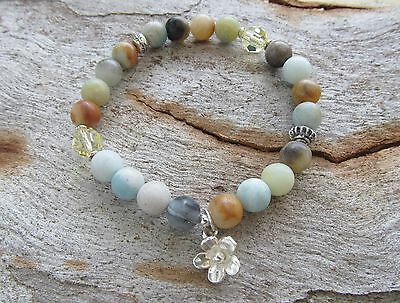 Amazonite Gemstone made with Swarovski Elements Sterling Silver Flower Bracelet