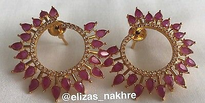 Red Antique Polki Earrings Bollywood Style Indian/ Pakistani Jewellery