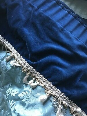 "Shabby Chic Blue Cotton French Valance Curtain Topper panel Fringes 11"" X 130"""