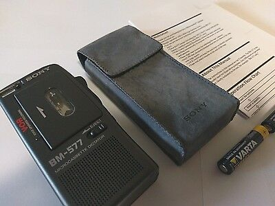 Sony BM-577 Microcassette Voice Recorder, soft case, manual, new condition!