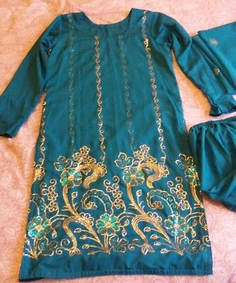 Ladies Teal and Gold Salwar Kameez/Asian dress Size 10/12 UK BN
