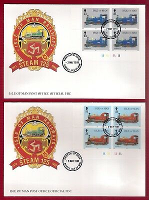 Isle Of Man Railways Steam 125 Fdc Block 4 Stamps 21P/31P Ramsey 2 May 1998 2No.