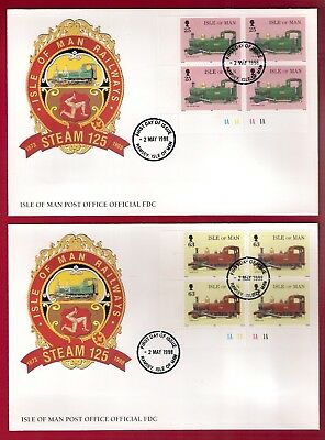Isle Of Man Railways Steam 125 Fdc Block 4 Stamps 25P/63P Ramsey 2 May 1998 2No.