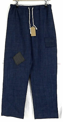 Patched Blue Renaissance Medieval Wool-look Elasticated Trousers S 32-34W LARP