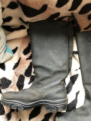 Girls Sz 4 Black Leather Riding Yard Country Boots