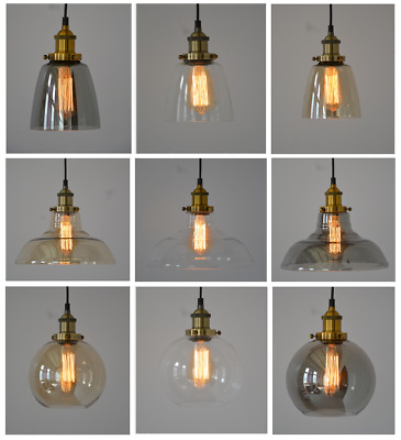 Modern Vintage Industrial Retro Loft Glass Ceiling Lamp Shade Pendant Light