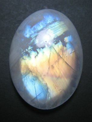 LARGE 18x13mm OVAL CABOCHON-CUT NATURAL INDIAN RAINBOW MOONSTONE GEMSTONE