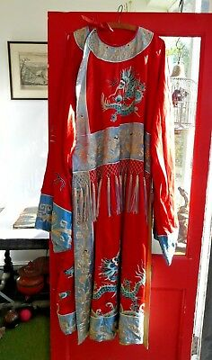 Antique Chinese opera robe, couched metallic thread embroidered imperial dragons