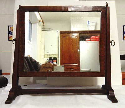 Antique C1820, George The 1V., Satin Wood String Inlaid Skeleton Mirror, As Is
