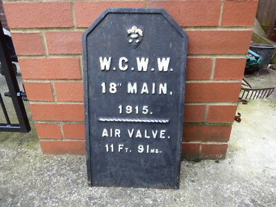 Cast Iron Wakefield  Corporation Water Works  Display Sign  Plaque