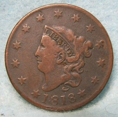 1818 Coronet Head Large Cent FINE-VF ~ Rotated Reverse * US Coin *