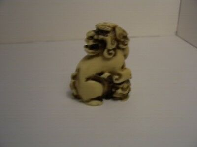 Vintage Resin Netsuke/okimono Of A Foo Dog With His Foot On A Skull?