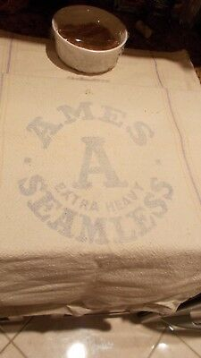 "VINTAGE old Feedsack, thick cotton nubby, ""Ames Seemless,Extra Heavy"