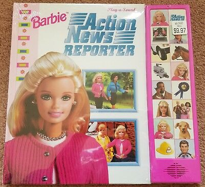 Barbie Action News Reporter Hardcover Play/Hear a Sound Rare 1999 Mint condition
