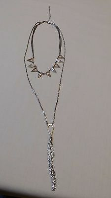 Unique Art Deco Flapper Style Necklace/Silver Tone & Rhinestones/Tassel