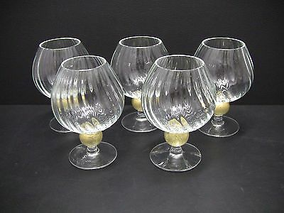 Union Street Manhattan Gold Brandy Snifters Glasses / Set of 5
