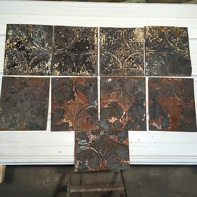 """9pc Lot of 12"""" by 11"""" Antique Ceiling Tin Vintage Reclaimed Salvage Art Craft"""