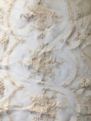Antique Embroidery Lace Wedding Table Runner Doll Lace Trim 11.5 X 46