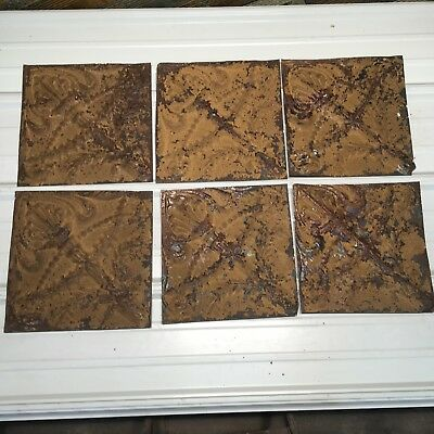 "6pc Lot of 11 by 11"" Antique Ceiling Tin Vintage Reclaimed Salvage Art Craft"