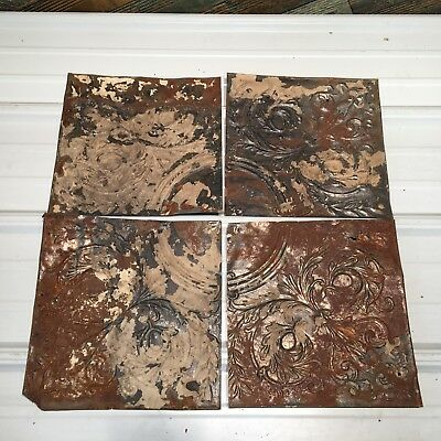 "4pc Lot of 11"" by 11"" Antique Ceiling Tin Vintage Reclaimed Salvage Art Craft"