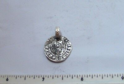 Medieval silver coin made into pendant Europe metal detector find !!
