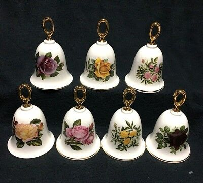 The Danbury Mint, Lot of 7, American Rose Bell Collection, English Bone China