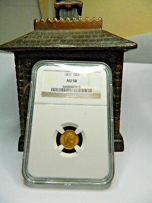 1851 $1 Gold Coin Au-58 Graded By Ngc. Nice Gold Coin!