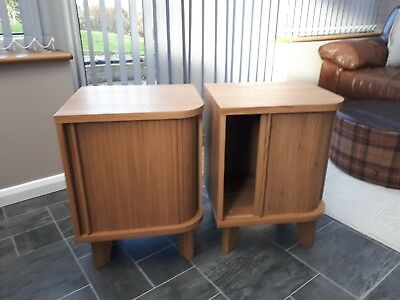2 x oak effect side tables with sliding door storage