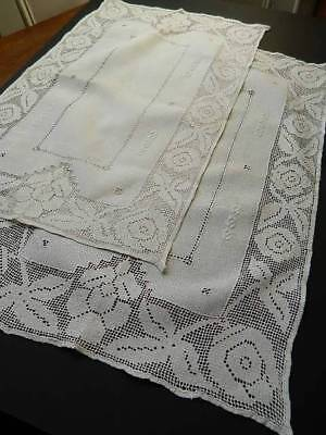 Pair of vintage white Irish linen table toppers with punchwork & hand embroidery