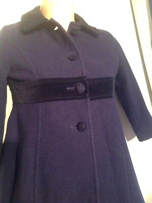 Laura Ashley Girls  age 4-5 navy blue formal vintage coat