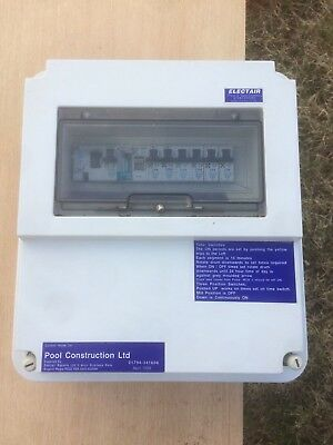 Swimming Pool Plant room electric  consumer unit with circuit breakers and timer