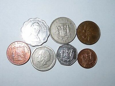 Jamaica 7 all different Coins # 804