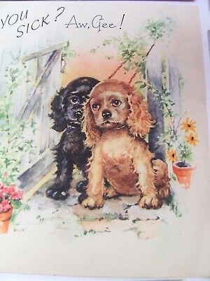 💕 Vintage Greeting Cards Get Well Card DOGS Cocker Spaniel  York More 1950's 💕