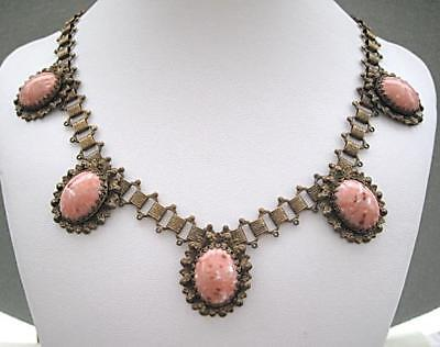 Rare 1940s 'Karu Fifth Avenue' Book Chain & Pink Glass Cabochon Necklace
