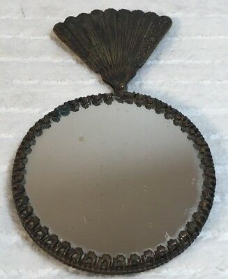 "Small Hand Held Vintage Solid Brass Fan Vanity Mirror 4 1/2"" Tall"