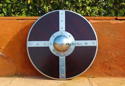 """21"""" Functional Viking Norse Wooden Round Shield with Steel Boss LARP Cosplay"""