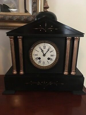 Victorian French slate mantle clock - dome feature, side columns &  bell strike