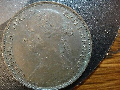 1886 Great Britain Queen Victoria Young Bust Large Penny. Very Fine