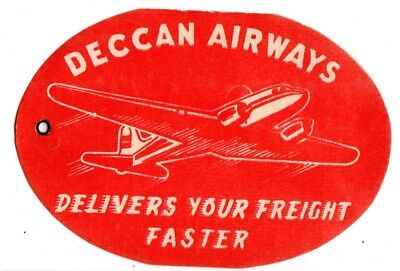 Deccan Airways Airline Baggage Label Stickers String Tag India Bombay Hyderabad
