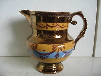 Small Copper Lustre Jug with Blue and Yellow Colour