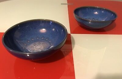 Vintage Denby Pottery Thelma Hague Midnight Vivid Blue Floral 2 Small Bowls