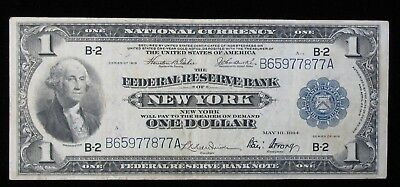 1918 Large Size $1 Blue Seal National Currency Federal Reserve Bank New York
