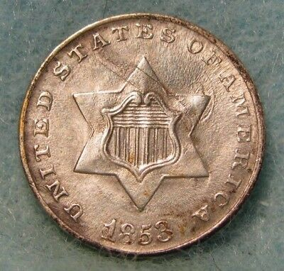 1853 Three Cent Silver Almost Uncirculated+ * US Coin *