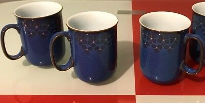 Vintage Denby Pottery Thelma Hague Midnight Vivid Blue Floral 3 Coffee Tea Cups