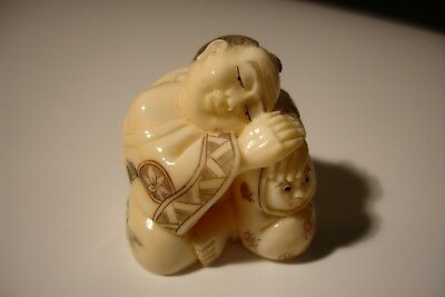 ANTIQUE  vintage COW   bovine bone NETSUKE  SIGNED